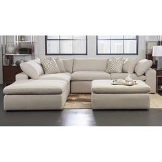 Kadence Reversible Modular Sectional with Ottoman is part of Sectional Living Room With Ottoman - This sectional exudes plush comfort and extreme contemporary styling Padded seat tops and overfilled back cushions sit between wide, straight arms Modular Sectional Sofa, Sleeper Sectional, White Sectional, Large Sectional, Modern Sectional, Oversized Couch Sectional, Oversized Chair, Living Room Furniture, Living Room Decor