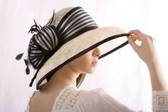 Ivory with black Melbourne cup extra wide by IrinaSardarevaHats