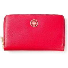 Tory Burch 'Robinson' zip around wallet ($215) ❤ liked on Polyvore