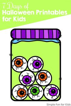 Practice counting with these cute printable Eyeballs in a Jar Halloween Counting Puzzles! Easy to cut and fun for your preschooler or toddler. {Day 2 of the 7 Days of Halloween Printables for Kids. Fun Activities For Preschoolers, Halloween Activities For Kids, Harvest Activities, Best Educational Toys, Toddler Preschool, Mini Books, Monster Activities, Number Activities, Baby Activities