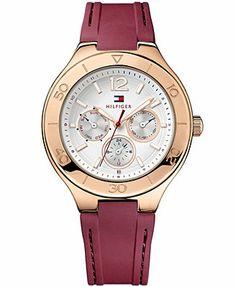 Tommy Hilfiger Watch, Women's Burgundy Silicone Strap 40mm 1781331