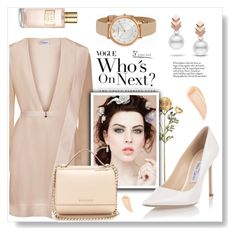"""romantic date"" by omniaasaad ❤ liked on Polyvore featuring Escalier, Givenchy, Jimmy Choo, Emporio Armani, Estée Lauder and Kevyn Aucoin"