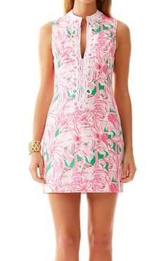 Lilly Pulitzer Alexa High Collar Shift Dress in Pink Colony, love this pink and green flamingo print
