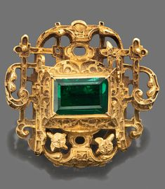 A RENAISSANCE COLOMBIAN EMERALD-SET GOLD JEWEL RECOVERED FROM THE SHIPWRECKED SPANISH GALLEON NUESTRA SEÑORA DE ATOCHA  EARLY 17TH CENTURY