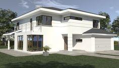Projekt domu piętrowego DN 021g o pow. 207,12 m2 z obszernym garażem, z dachem namiotowym, z tarasem, z wejściem od południa, sprawdź! House 2, Home Fashion, Claire, Mansions, Architecture, House Styles, Home Decor, Modern Townhouse, Home Exterior Design