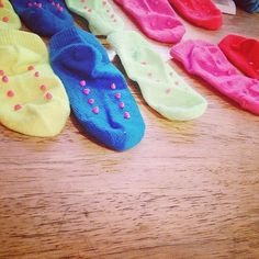 Parenting hack #3.  Anti-skid socks  can be made with super ease now. All you need is some puffy fabric paint.