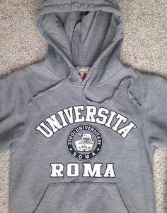 Womens(XS) UNIVERSITA ROMA HOODIE Gray University of Rome Italy Seal Sweatshirt #Italia #Hoodie