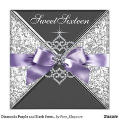 Diamonds Purple and Black Sweet 16 Birthday Party Card White diamonds and lavender purple bow purple black damask sweet 16 birthday party invitation. Add your details to the front and back by adding your event details, font style, font size & color, and wording.
