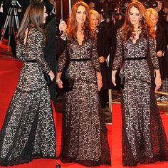 black lace gown worn by Kate-Middleton-at-the-War-Horse-London-premiere. Black Lace Gown, White Lace, Lace Dress, Princess Kate Middleton, Ball Gown Dresses, French Lace, Royal Fashion, Lace Sleeves, Flare Skirt