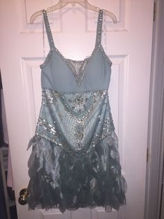 Sue Wong size 10 Nocturne Seafoam Gatsby Cocktail Mesh Beaded Feathers in Clothing, Shoes & Accessories, Women's Clothing, Dresses   eBay