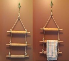 Repurposed Rolling pin kitchen towel rack by Puffin Design; Upcycle, Recycle, Salvage, diy, thrift, flea, repurpose, refashion!  For vintage ideas and goods shop at Estate ReSale & ReDesign, Bonita Springs, FL
