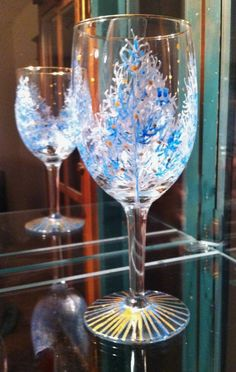 Hand-Painted Luxury Stemless Wine or Cocktail Glass Designed in London by Stephanie Cole Grey and Silver Dragonfly Design with Gift Box