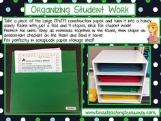 Great way to organize student work! goodbye pricey duotangs with your tricky pegs and flaps. Hello construction paper folders!