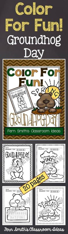 50% Off for the First Two Days! Groundhog Day Fun! Color For Fun Printable Coloring Pages {20 coloring pages equals less than 10 cents a page.} #Free Groundhog Day Coloring Page in the FREE Preview Download! #TPT $
