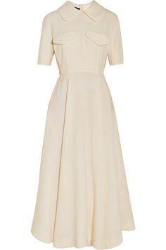 Emilia Wickstead Wool Crepe Midi Dress as seen on Kate Middleton Full Midi Skirt, Fitted Midi Dress, Designer Clothes Sale, Discount Designer Clothes, White Dress Winter, Winter White, Fall Winter, Kate Middleton Dress, Calf Length Dress