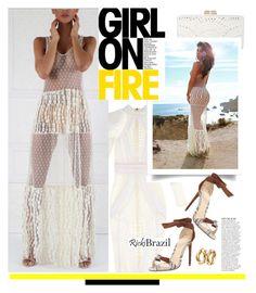 """Rickybrazil.com: Girl on fire"" by hamaly ❤ liked on Polyvore featuring BCBGMAXAZRIA, Balmain, Alexandre Birman, Anja, ootd, SpringStyle, lacedress and rickibrazil"
