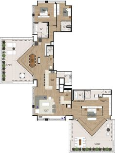 Like the unusual shapes, but would need more storage and living area. The Radisson Blu Hotel and Residence Cape Town UNIT 2301 Best House Plans, House Floor Plans, V&a Waterfront, Curved Walls, Baroque Architecture, City Restaurants, Unit Plan, Penthouses, Good House