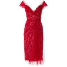 Marchesa Off The Shoulder Lace Cocktail Dress (€3.710) ❤ liked on Polyvore featuring dresses, sweetheart dress, lace cocktail dress, red off the shoulder dress, lace dress and red sweetheart cocktail dress