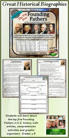 Includes all five packets in the Founding Fathers Series including George Washington, John Adams, Thomas Jefferson, Alexander Hamilton, and Benjamin Franklin. These five statesmen were considered the top five founding fathers in American history. Each packet includes a balanced and accurate article, comprehension activities, answer keys and graphic organizer which adheres to several core curriculum standards in grades 4-6 $