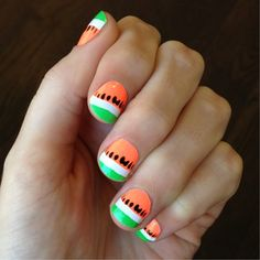 Yum! These watermelon nail wraps almost look good enough to eat. #ManiMonday