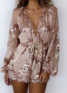 Nude Sequin Playsuit for New Year's Eve