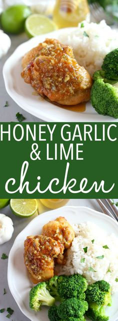This Honey Garlic Lime Chicken is an easy weeknight meal recipe featuring tender chicken thighs cooked in a sweet lime and garlic sauce! Just a few simple ingredients and you're on your way to a delicious family meal that's so easy to make! Recipe from t Easy Honey Garlic Chicken, Honey Garlic Sauce, Easy Chicken Recipes, Easy Dinner Recipes, Dinner Ideas, Healthy Chicken, Sweet Lime, Easy Weeknight Meals, Chicken Thighs