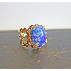 Fire Opal Ring Opal Ring Gift Vintage Filigree Gold Ring Friendship... (38 BAM) ❤ liked on Polyvore featuring jewelry, rings, yellow gold rings, opal rings, gold filigree rings, vintage opal jewelry and gold jewellery