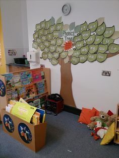 Phonics tree-add a new leaf each time they learn a new sound. Then the tree would grow throughout the year. Class Displays, School Displays, Classroom Displays, Early Years Displays, Jolly Phonics, Teaching Phonics, Phonics Activities, Teaching Resources, Teaching Ideas