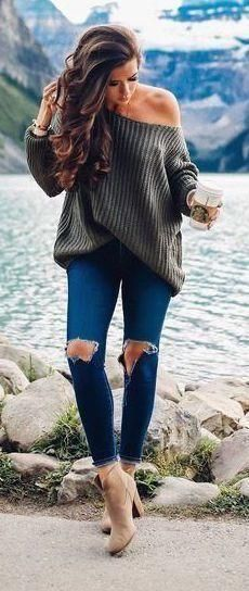 Oversized Scoop Neck Loose Fit Chunky Knit Sweater