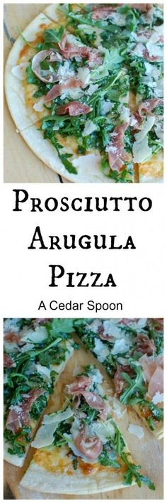 Forget store bought or take out pizza and make this Prosciutto Arugula Pizza for pizza night. The salty prosciutto and peppery arugula pair nicely with the mozzarella and parmesan cheese. This is one of my favorite pizza combinations!  // A Cedar Spoon