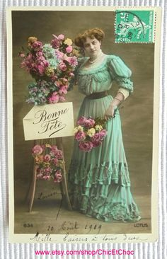 French Antique Postcard - Woman in a Long Turquoise Dress with Flowers by ChicEtChoc on Etsy