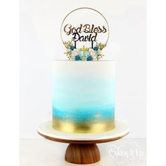 One tier gold and blue watercolour wash christening cake with handmade wreath and gold mirrored topper supplied by client. Baby Boy Cakes, Cakes For Boys, Boy Communion Cake, Boys First Communion Cakes, One Tier Cake, Christening Cake Boy, Religious Cakes, Confirmation Cakes, Watercolor Cake