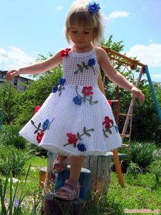 Схемы вязания детского платья крючком