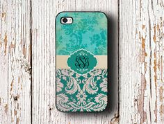 Iphone 5 case - Monogrammed Iphone case - Aqua blue green teal grunge damask monogram Iphone 5c cover 5s, plastic silicone protective (9697)