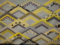 modern yellow and gray quilt
