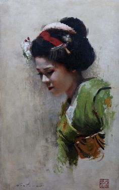 Maiko Satohana - 8 x 10 signed print of an original oil painting A portrait of a maiko (geisha in training) from the Kamishichiken district of Kyoto, Japan. Painting People, Woman Painting, Figure Painting, Painting & Drawing, Geisha Kunst, Geisha Art, Figurative Kunst, Most Famous Paintings, Painting Competition