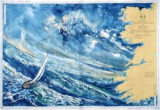 martinarnaud.fr aquarelles sur cartes nautiques Les Oeuvres, Abstract, Artwork, Outdoor, Nautical Cards, Water Colors, Sketch, Nautical Chart, Contemporary Art