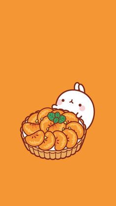 Molang orange tart phone wallpaper