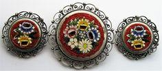 Signed Micro Mosaic Set Vintage Brooch Earring Flower Pierced Floral Italy Pin   #Unbranded
