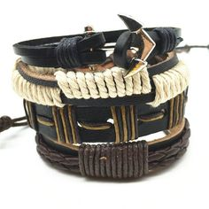 4pcs 1 Set Punk Genuine Wrap Leather cuff Bracelets for women and men