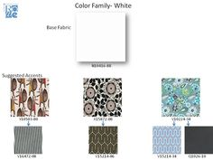 New Rowe fabrics and suggested correlates.  The center column are my fabrics!