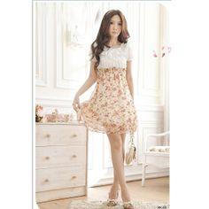 Mini dress corte imperio, floral print