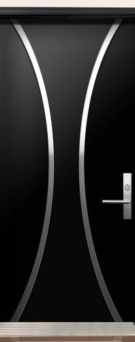 Modern Contemporary Door -Modern Wood Door with Stainless Steel Design installed in Richmond Hill, Ontario by Modern-doors.ca