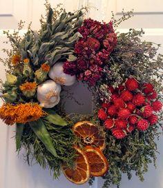 Culinary Wreath,Herb Wreath, Kitchen Wreath, Kitchen Decor, Garlic Wreath, Dried Floral Wreath $40