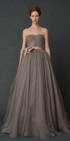 Dark taupe wedding gown, gorgeous shape, Vera Wang