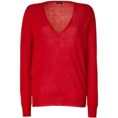 JOSEPH Red V-Neck Pullover ($235) ❤ liked on Polyvore featuring tops, sweaters, shirts, blusas, pullover, red cashmere sweater, red v neck sweater, red long sleeve shirt, lightweight long sleeve shirt and red v neck shirt