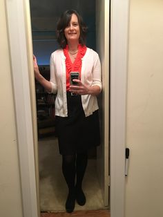 Dear Stitch Fix: This is a photo of me about to head into work... Black skirt, black tights/shoes, off-white cardigan, and a pop of color on a rainy day.