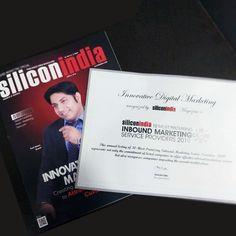 Innovative Digital Marketing recognized by SiliconIndia Magazine as SiliconIndia 10 Most Promising INBOUND MARKETING Service Providers 2019. #Magazine #SiliconIndia #InboundMarketing