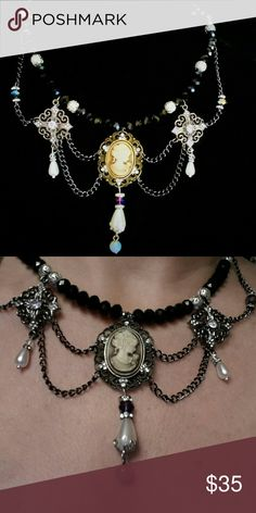Gorgeous Victorian hand  crafted  Cameo neckwire This elegant piece is all handcrafted by me. Strung on a super strong jeweler's wire are black crystal  and silver filagree beads.. draped  in black  chains and rhinestone  connectors that frame a beautiful  Cameo,  ending in a silver rhinestone  skull. Jewelry Necklaces