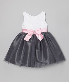 Take a look at this White & Gray Bow Glitter Dress - Infant by Sweet Heart Rose on #zulily today!
